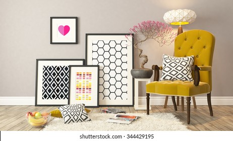 picture frames with yellow bergere and wooden parquet decor, background, template design 3D rendering