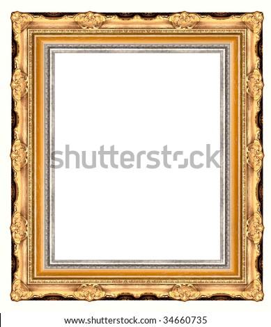 Picture Gold Frame On White Stockillustration 34660735 Shutterstock