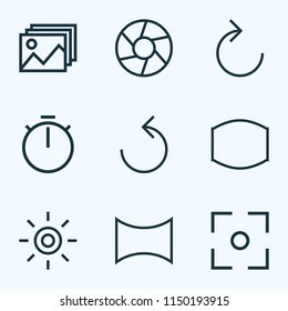 Picture icons line style set with capture, wb iridescent, image and other wide angle elements. Isolated  illustration picture icons.