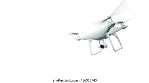 Picture Matte Generic Design Modern Remote Control Air Drone Flying with action camera. Isolated on Empty White Background. Horizontal . 3D rendering