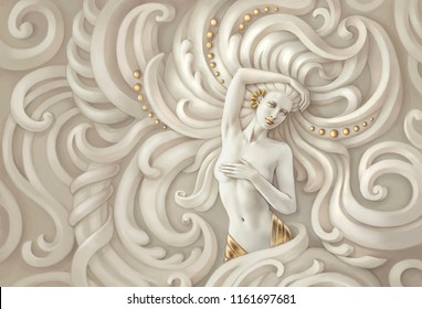 Picture of a naked woman. Stylized as a sculpture.Horizontal version.