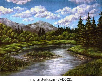 Picture an oil paint on a canvas: mountain lake