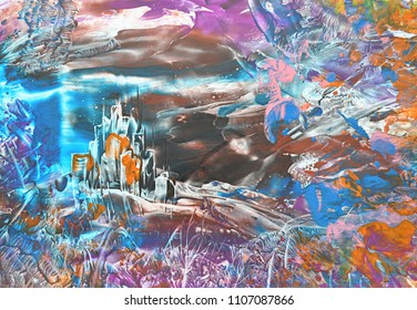 Picture, Oil Painting Fantastic Abstract Landscape, Symbolical Castle