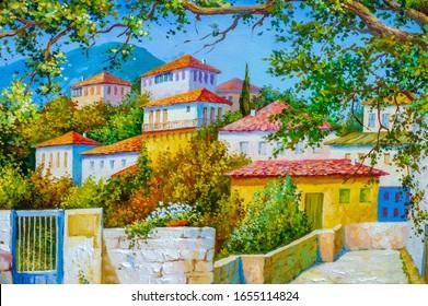 cuadro, pintura al óleo, escena, pieza, vista, pintoresco patio de tela con flores coloridas, dolor de patio, greca