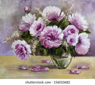 Picture oil paints on a canvas: a bouquet of peonies in a glass vase