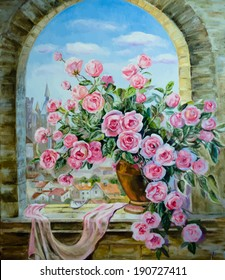 Picture oil paints on a canvas: a bouquet of peonies at the window