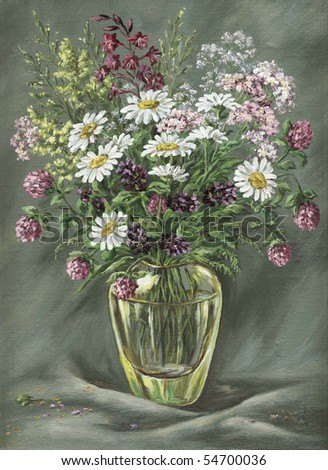 Picture Oil Paints On Canvas Glass Stock Illustration 54700036