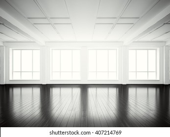 Picture of open space office modern building.Empty interior loft style with wood floor and panoramic windows.Abstract background,blank walls. Ready for business info.Horizontal mockup.3d rendering