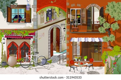 the picture painted in oil Parisian cafe. The facade of a Parisian cafe. Cozy food court. Street cafe for breakfasts, Lunches and dinners. Wallpaper for walls.