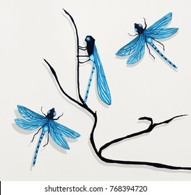 Picture of a painting that represent three beautiful detailed dragonflies and a branch on white background