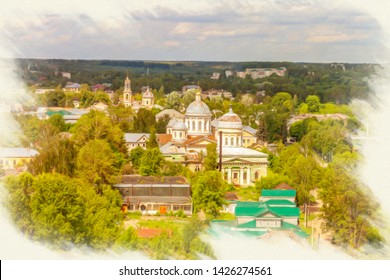 Picture from a photo, imitation of painting. Aerial view of the city of Torzhok. Panorama of the city. The Entrance-Jerusalem church and Transfiguration Cathedral