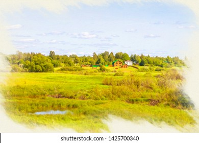 Picture from a photo, imitation of painting. Place Shelonskoy battle. The battle took place on July 14, 1471 on the left bank of the Shelon River between the Moscow troops and the Novgorod militia