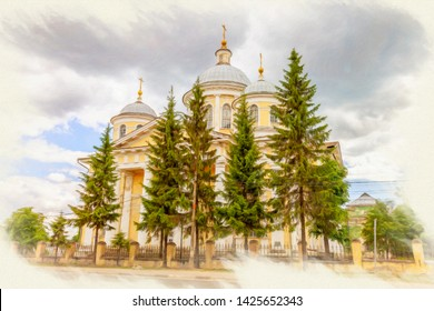 Picture from a photo, imitation of painting. Torzhok city. Transfiguration Cathedral