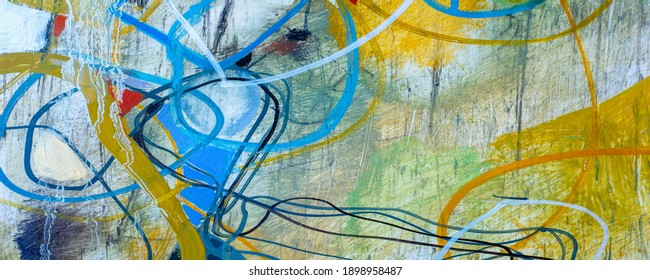Picture. photo studio. Hand drawn oil painting. Abstract art background. Oil painting on canvas. Colored texture. Fragment of a work of art. Paint spots. Paint brushes. Modern Art. Colorful canvas