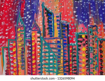 """Picture """"Skyscrapers in the night lights"""""""