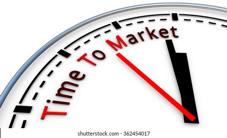 Picture of Time To Market clock concept. Time used to design a new product and bring it on the market