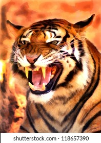 Picture of a Very Angry Growling Tiger Portrait Painting
