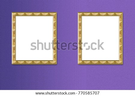 Pictures Gold Frames Exposed On Purple Stock Illustration Royalty