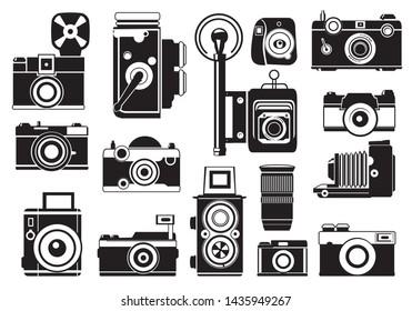 Pictures set of retro cameras. monochrome illustrations. Camera photo retro, photography vintage lens