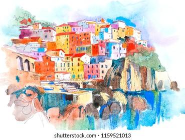 Picturesque city landscape. Summer resort town Watercolor illustration.