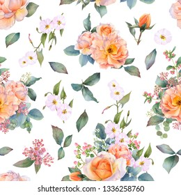Picturesque seamless pattern with rose arrangements, leaves and bindweed branches hand drawn in watercolor isolated on a white background. Watercolor floral background. Ideal for wallpaper or fabric.
