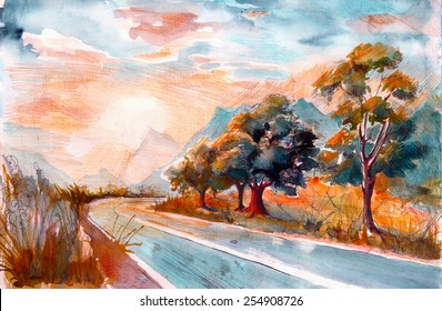 Picturesque trees near the road watercolor painting poster card background