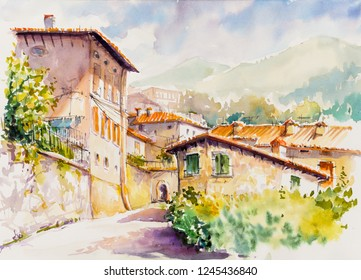 Picturesque Vesio village above Lago di Garda, Lombardy region of Italy. Picture created  with watercolors.