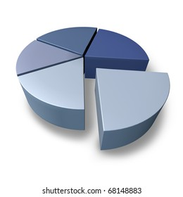 pie chart blue pieces of puzzle business icon graph chart isolated 3D portion financial symbol
