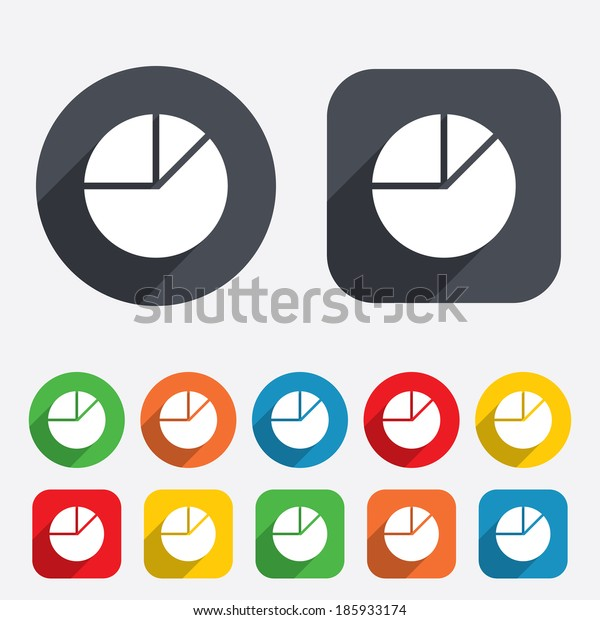 Pie chart graph sign icon. Diagram button. Circles and rounded squares 12 buttons.
