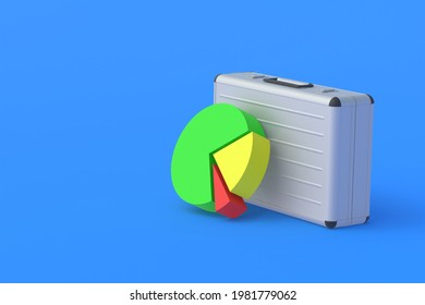 Pie chart near metal suitcase. Analysis of the banking system. Marketing calculations. Results of financial inspection, audit. Commercial activity report. Budget allocation. Copy space. 3d render