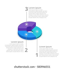 Pie chart on isolated background. Isometric pie charts different heights. Business data, colorful elements for infographics. Stock illustration. Raster copy.
