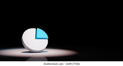 Pie Diagram Symbol Shape Spotlighted on Black Background with Copy Space 3D Illustration