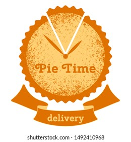 Pie time. Logo for the bakery. Cake - a symbol clock with hands. Text Ribbon