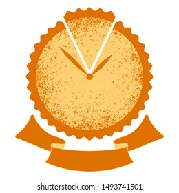 Pie time. Logo for the bakery. Cake - a symbol clock with hands. Ribbon