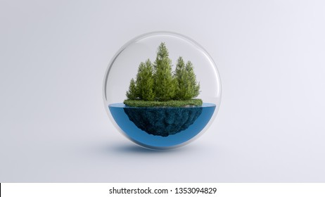 A piece of forest with water in a cristal bubble, climate change. 3D Illustration.
