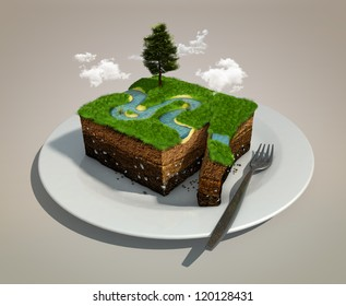 piece of land like a dish on a plate