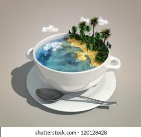 piece of land & ocean like a soup