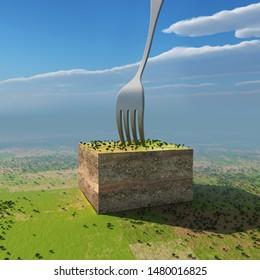 piece of land for sale, 3d illustration