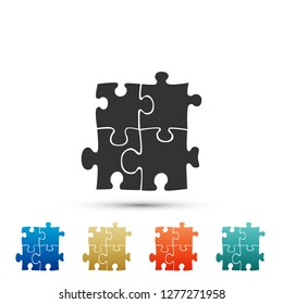 Piece of puzzle icon isolated on white background. Modern flat, business, marketing, finance, internet concept. Set elements in colored icons. Flat design