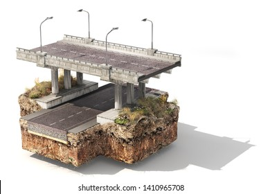 Piece of road with bridge over road. 3d illustration