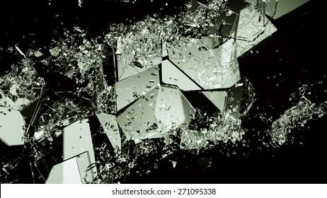 Pieces of broken or demolished glass on black. Large resolution