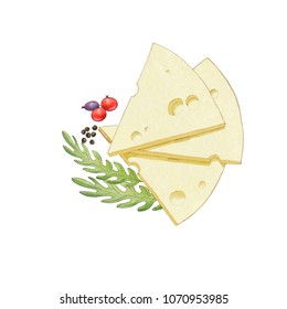Pieces of cheese with gerbs and berries isolated on a white background. Hand droun watercolor illustration .