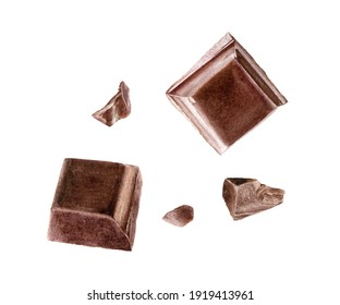 Pieces of dark chocolate bar watercolor illustration isolated on white background