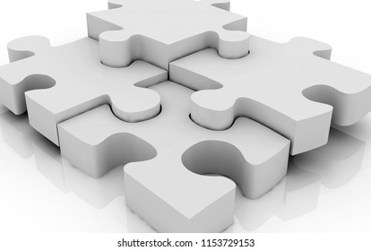 Pieces of a jigsaw puzzle isolated 3D illustration, 3D rendering.