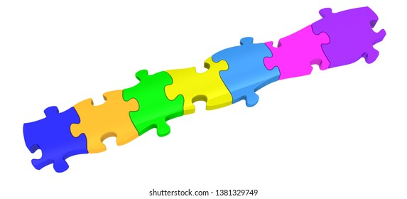 Pieces of a puzzle arranged in row. Seven colored pieces of a puzzle arranged in row on white background. Isolated. 3D Illustration