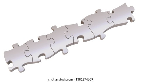 Pieces of a puzzle arranged in row. Six gray pieces of a puzzle arranged in row on white background. Isolated. 3D Illustration