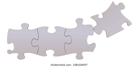 Pieces of a puzzle. Four pieces of a puzzle are going to in row on white background. Isolated. 3D Illustration