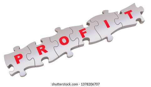Pieces of a puzzle with profit word. Jigsaw puzzle pieces together in a row and labeled PROFIT. Isolated. 3D Illustration