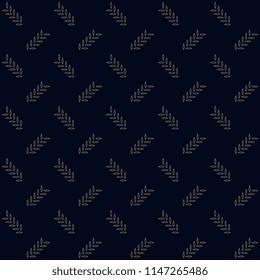 Pied de poule simple geometric motif grange textured background. Vintage seamless ornament. Small leaves print block for home textile, paper, fabric cloth. Indigo allover design. Set Peacock Pattern.