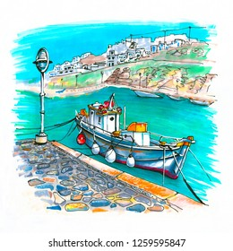 Pier with fishing boats in harbour of Mykonos City, Chora, Mykonos, Greece. Picture made markers